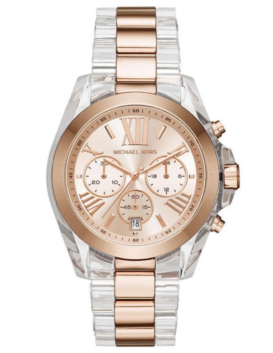 Michael Kors Bradshaw MK6358 Reloj para Dama Color Transparente Rosa 1329a0fa08