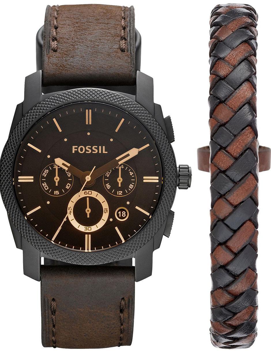 34870645b54d Fossil Machine FS5251SET Box Set Reloj para Caballero Color Café