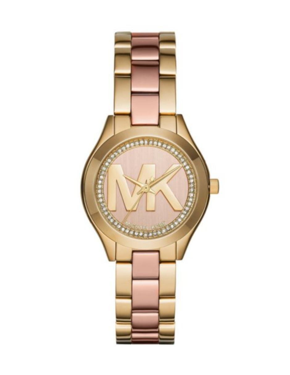 12503ad37ba4 Michael Kors Mini Slim Runway MK3650 Reloj para Dama Color Dorado Oro Rosado