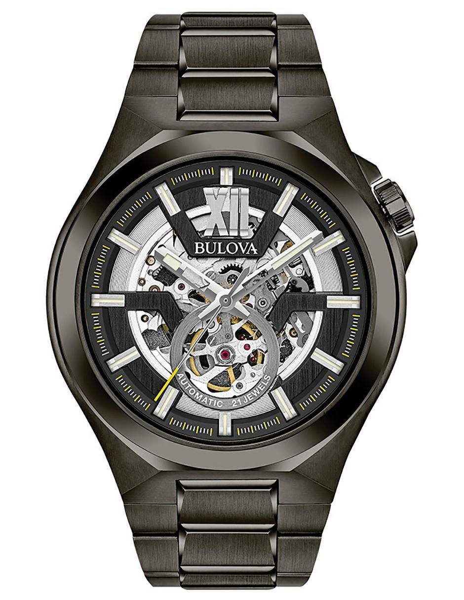 36c0641aa393 Reloj para caballero Bulova Mechanicals 98A179 negro