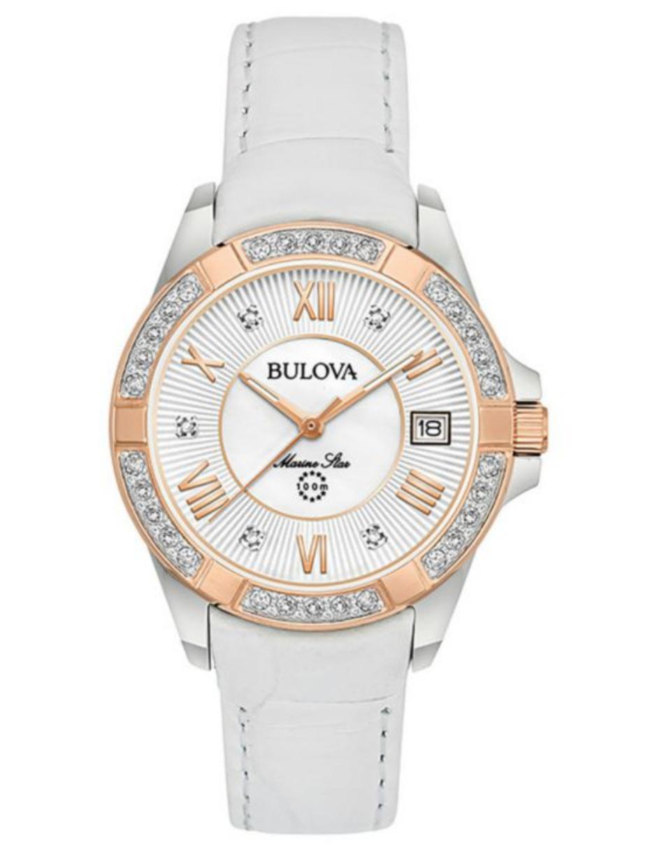 98r233 Dama Bulova Blanco Marine Star Reloj Para wOP8n0k