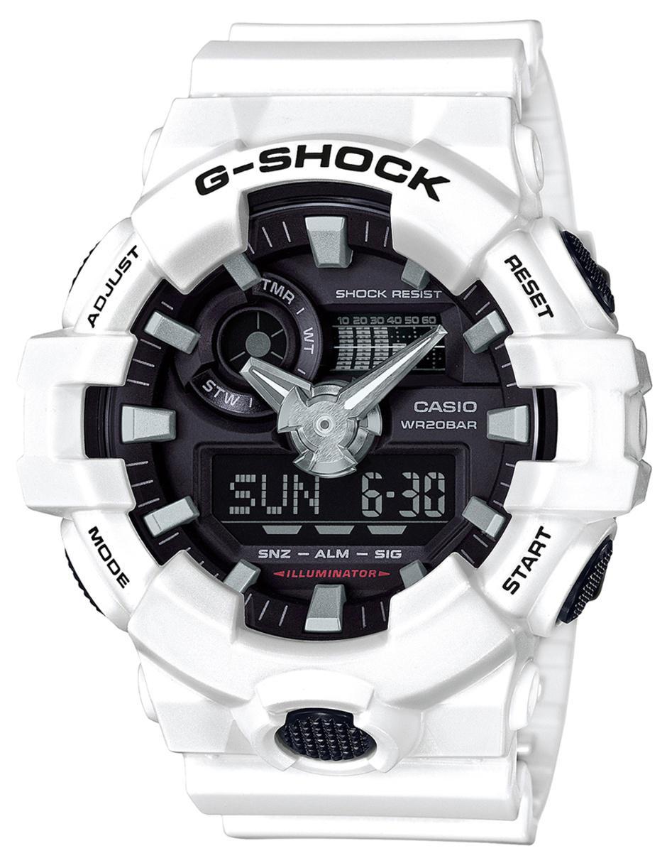 4d31d9dfe861 Reloj para caballero Casio G-Shock GA-700-7ACR blanco
