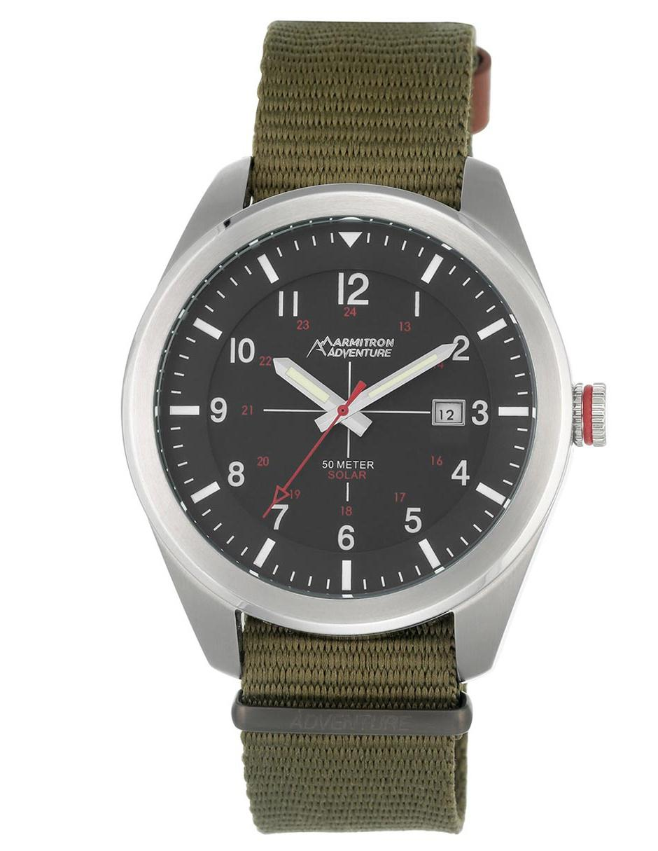 Para Caballero Verde Reloj Armitron Adventure Ad1001bksvgn Militar MzSUVp