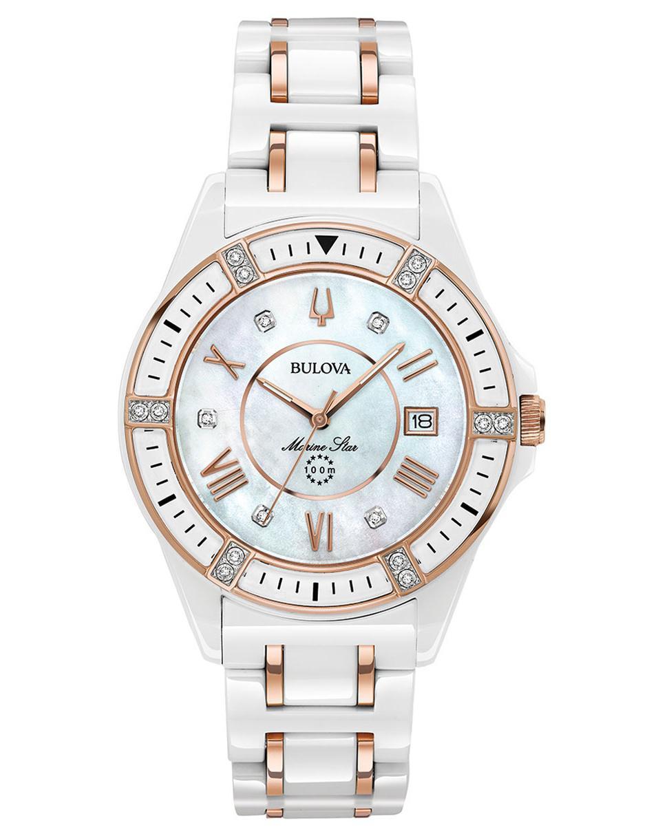 Reloj Bulova Para Dama Blanco 98r241 Star Marine dBWCxero