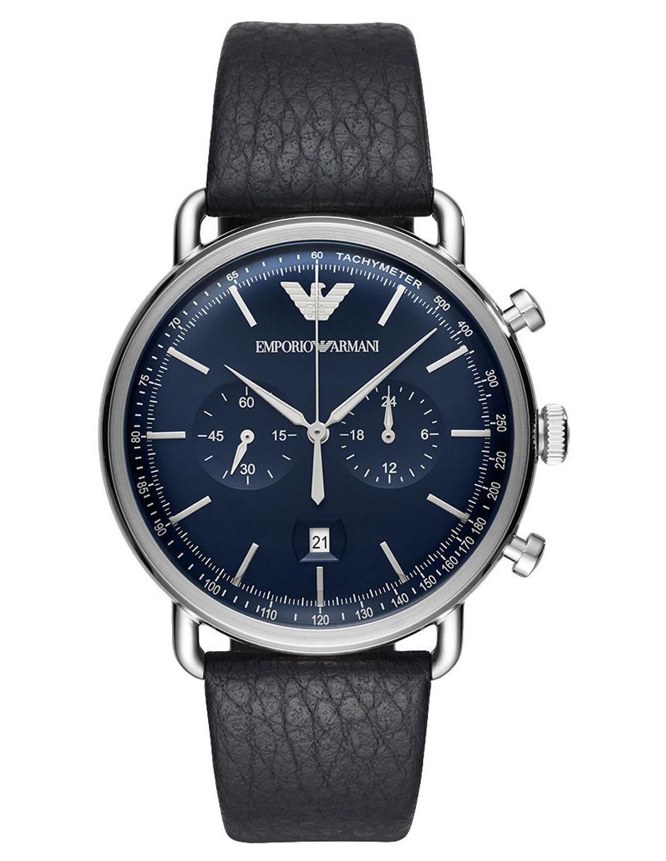 12a299fd42fa Reloj para caballero Emporio Armani Aviator AR11105 azul marino ...