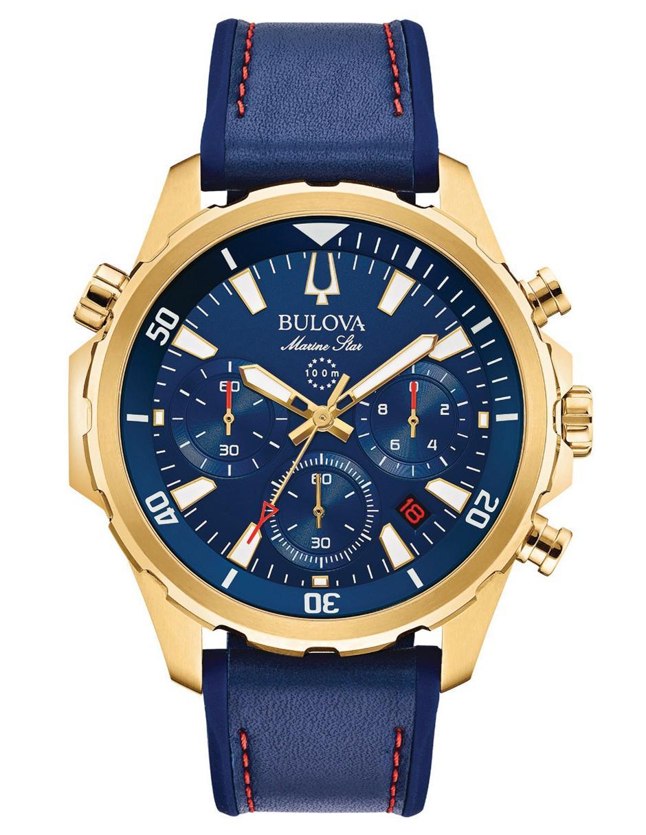 19e44d3f3975 Reloj para caballero Bulova Marine Star 97B168 azul marino