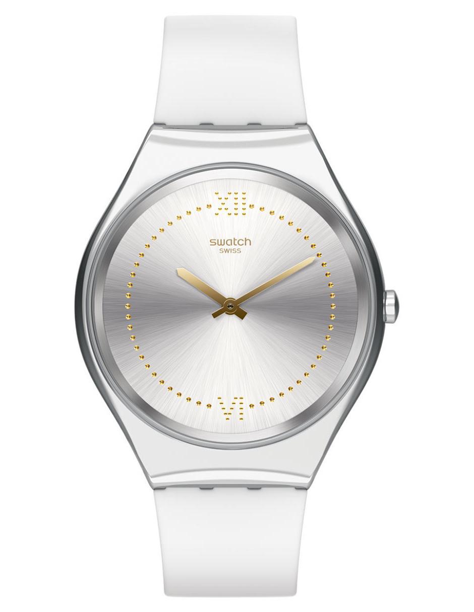 8c1fd2b40c47 Reloj para dama Swatch Skin Irony Skindoree SYXS108 blanco