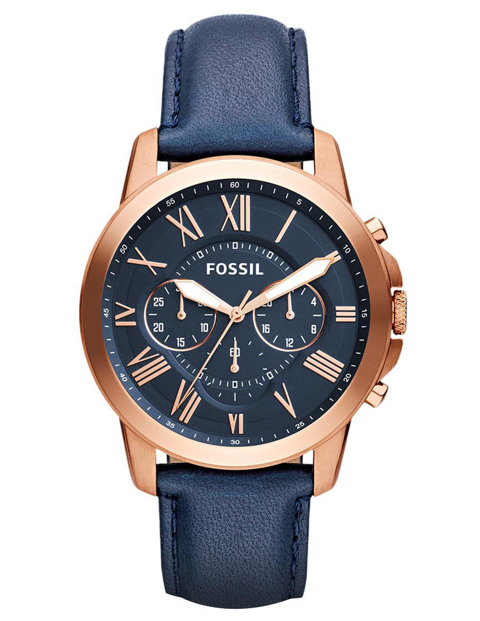 13c8ddb91075 Reloj para caballero Fossil Grant FS4835IE azul marino