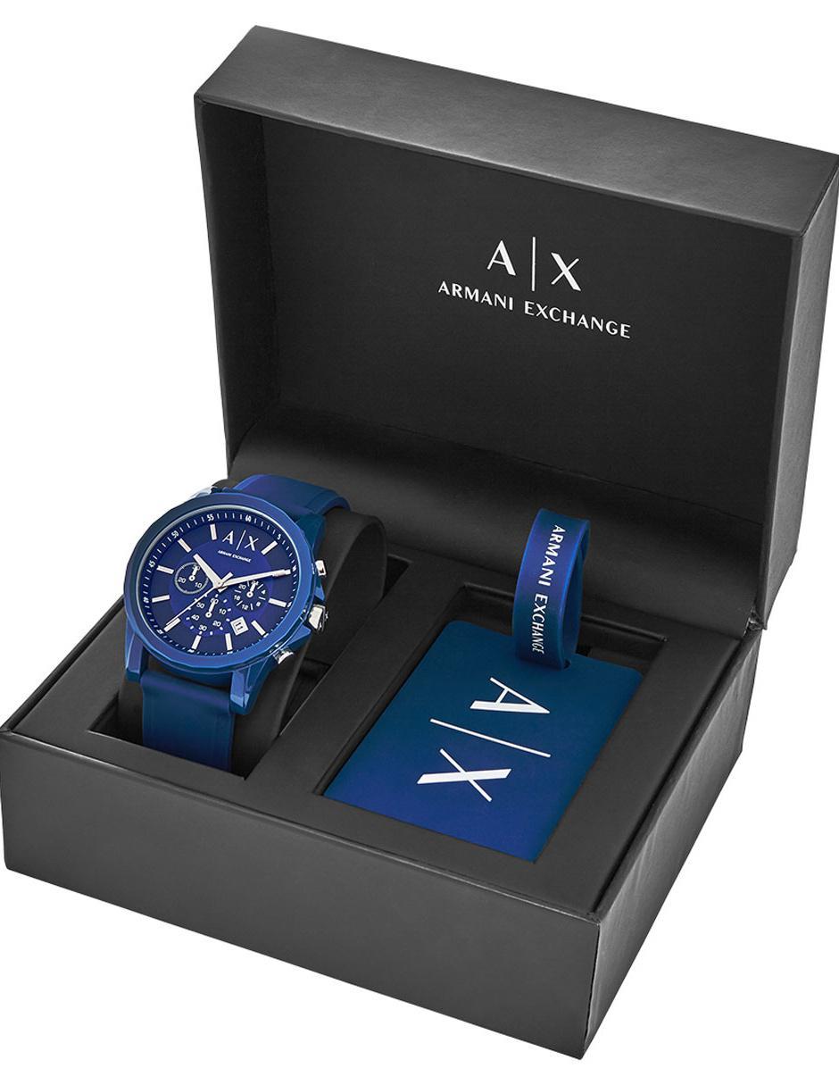 ee3fa2e2e308 Box set de reloj para caballero Armani Exchange Active AX7107 azul
