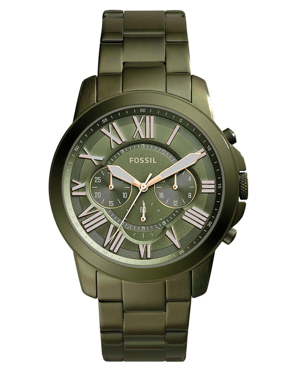 dfcd35c31b74 Reloj para caballero Fossil Grant FS5375 verde